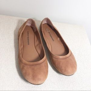 Lucky Brand Tan Leather Emmie Flats Size 9.5
